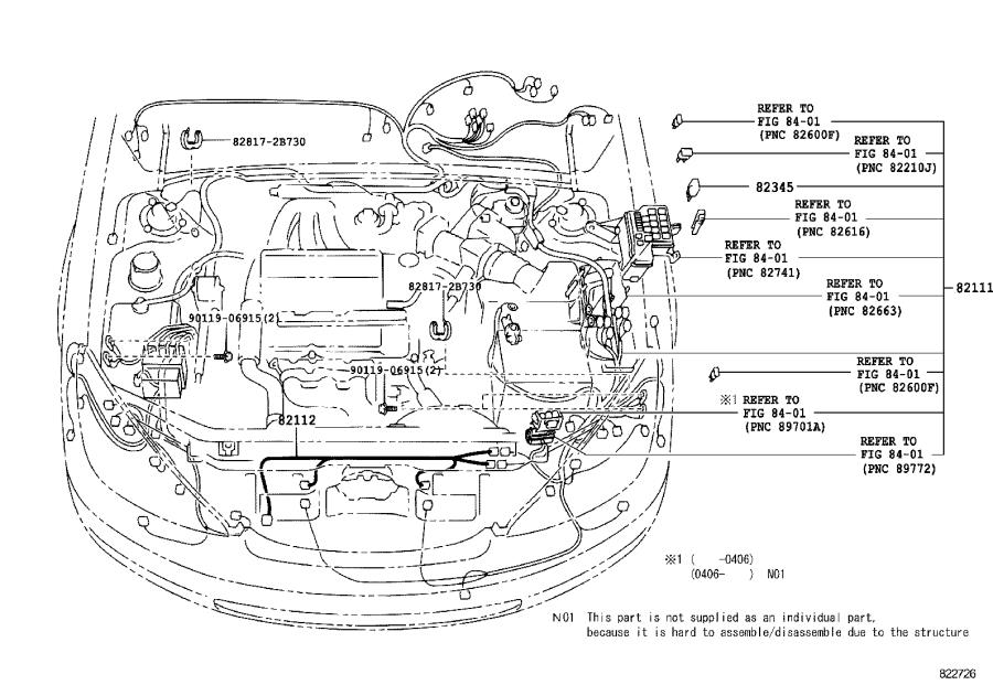 Lexus ES 330 Wire, engine room main. Clamp, instrument