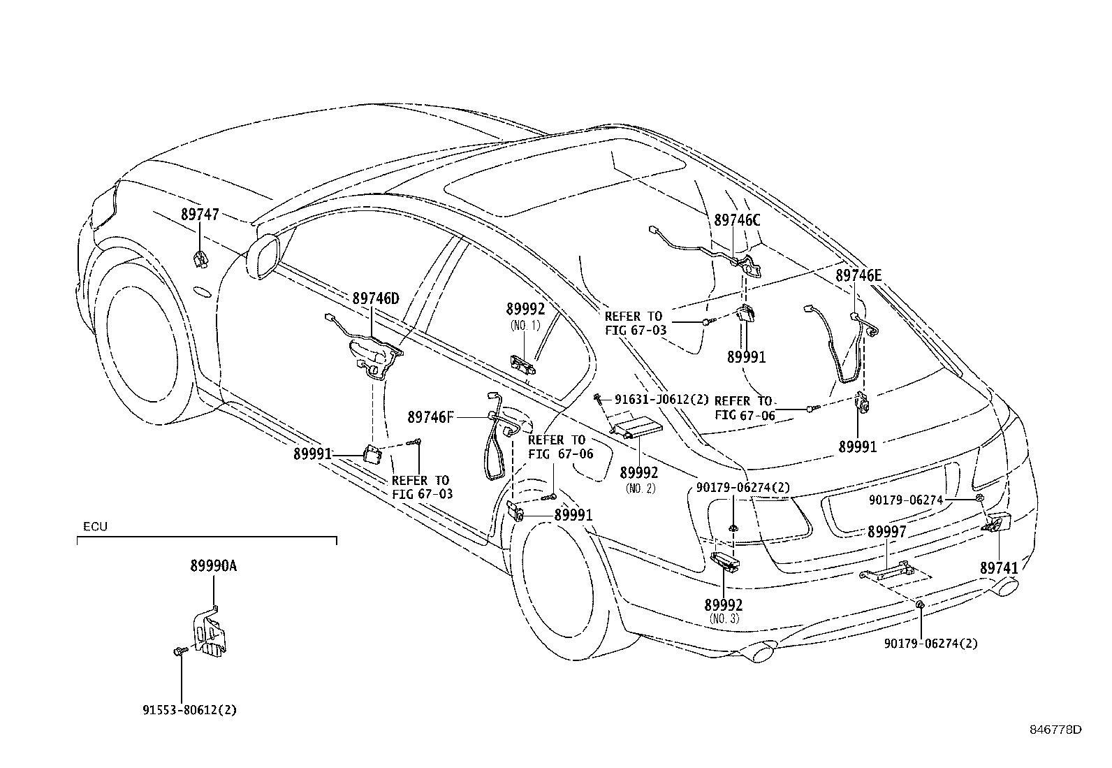 Lexus GS 350 Harness, electrical key wire, no. 3