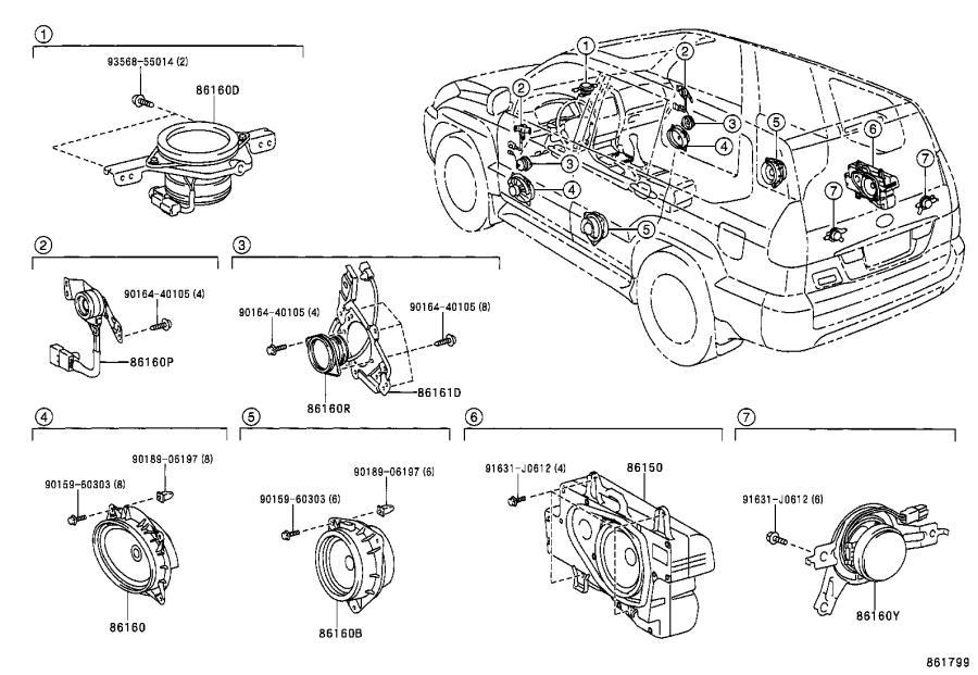 Lexus GX 470 Speaker assembly, front no. 2. Overseas