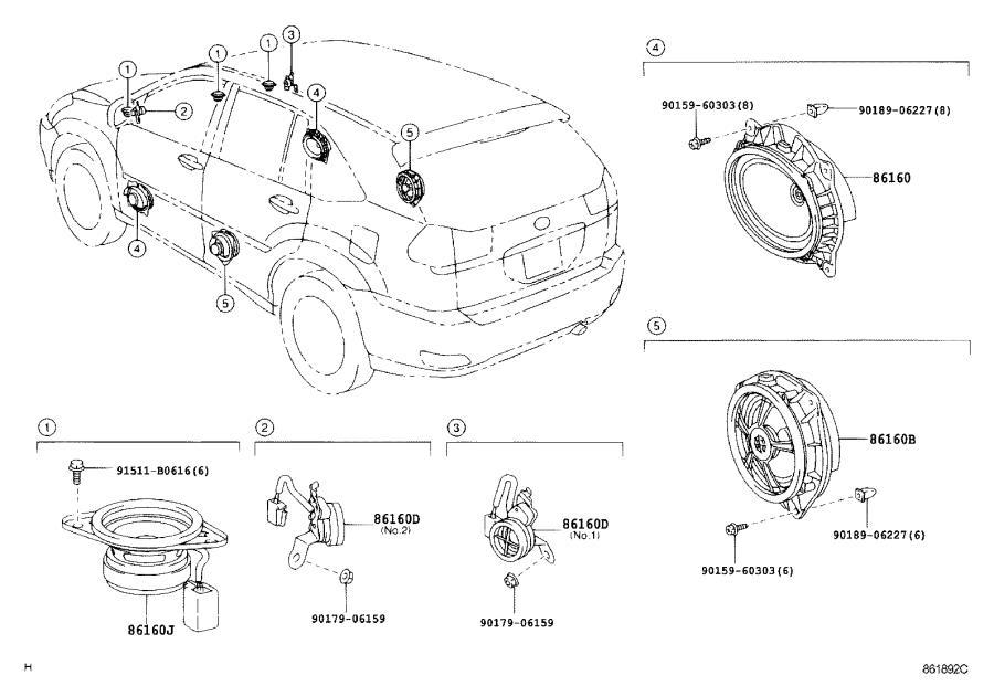 Lexus RX 350 Speaker assembly, rear. Audio, levinson, mark