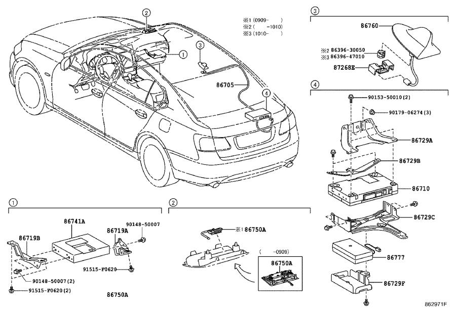Lexus GS 350 Antenna assembly, telephone. Red mc.cs