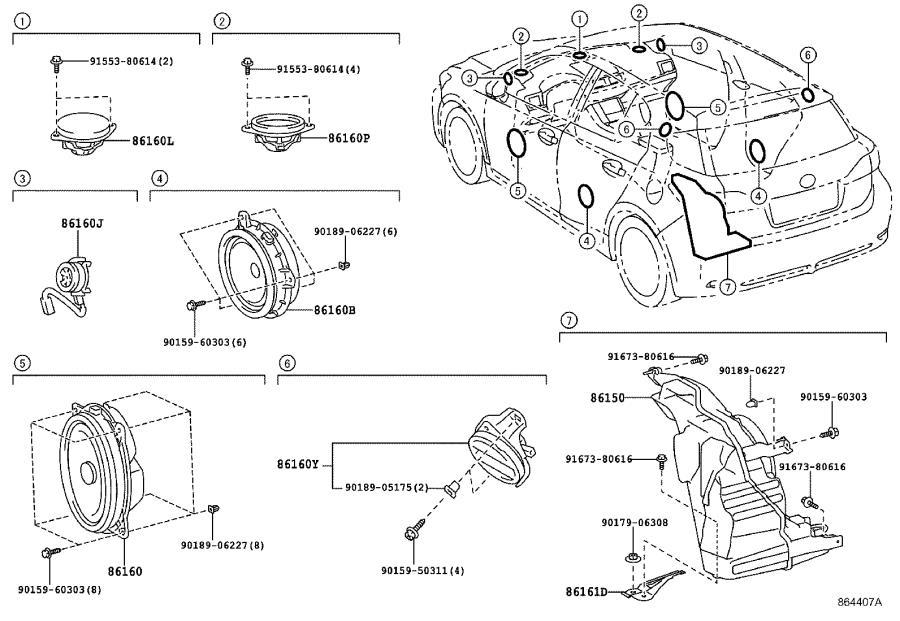 Lexus CT 200h Speaker assembly, front no. 3. Audio, dvd