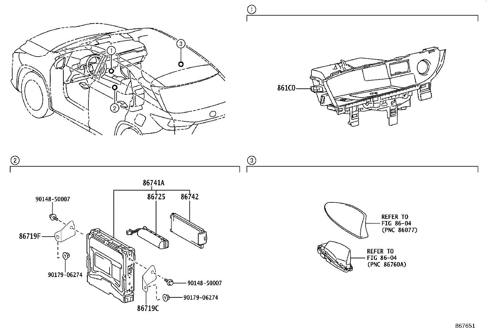 Lexus RX 350 Bracket. Telephone no. 2; telephone no. 3