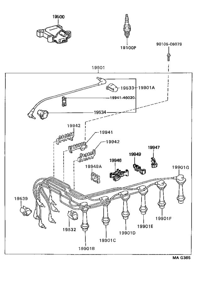 Lexus GS 300 Ignition Coil Lead Wire. Plug, Engine