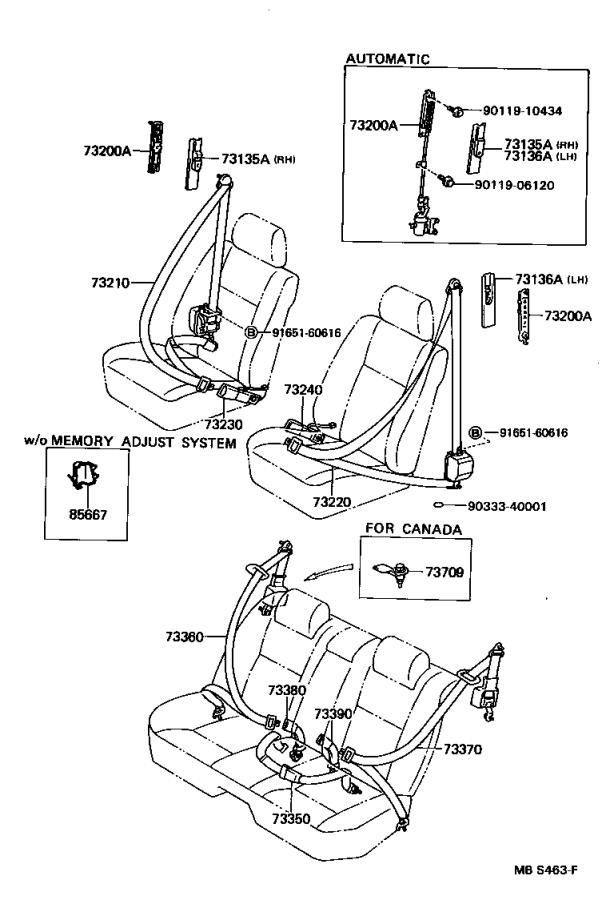 Lexus LS 400 Belt assembly, rear seat 3 point type, outer