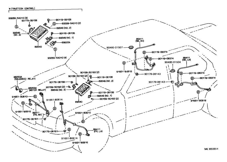 Lexus LS 400 Relay. Ignition, no. 1; skid control