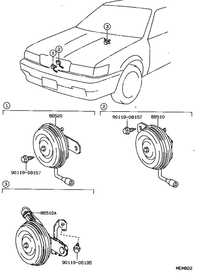 Lexus ES 250 Horn assembly, low pitched. Maruko, twt