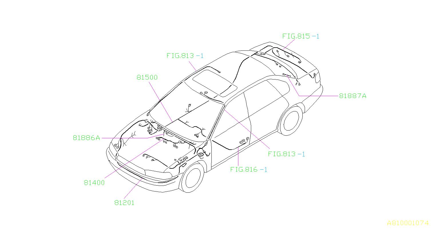 Subaru Legacy Wiring Harness. (Left, Front). W.A/C. W/O