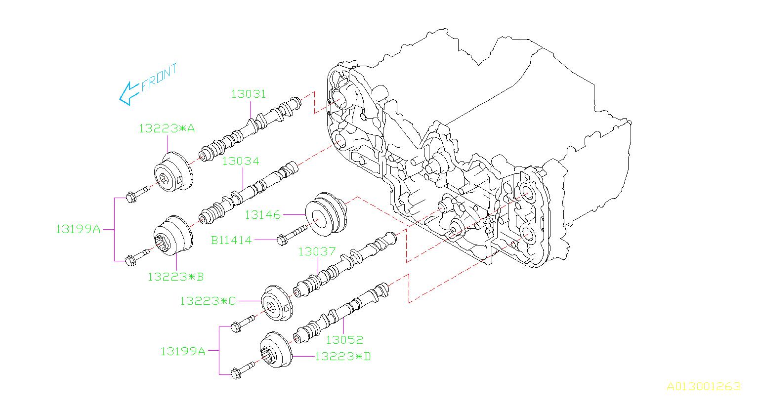 Subaru Legacy Engine Timing Camshaft Sprocket. BELT