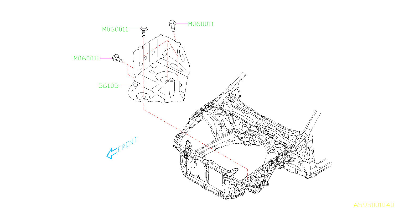 Subaru Outback Bolt Flange M10X22. FRAME, CHASSIS