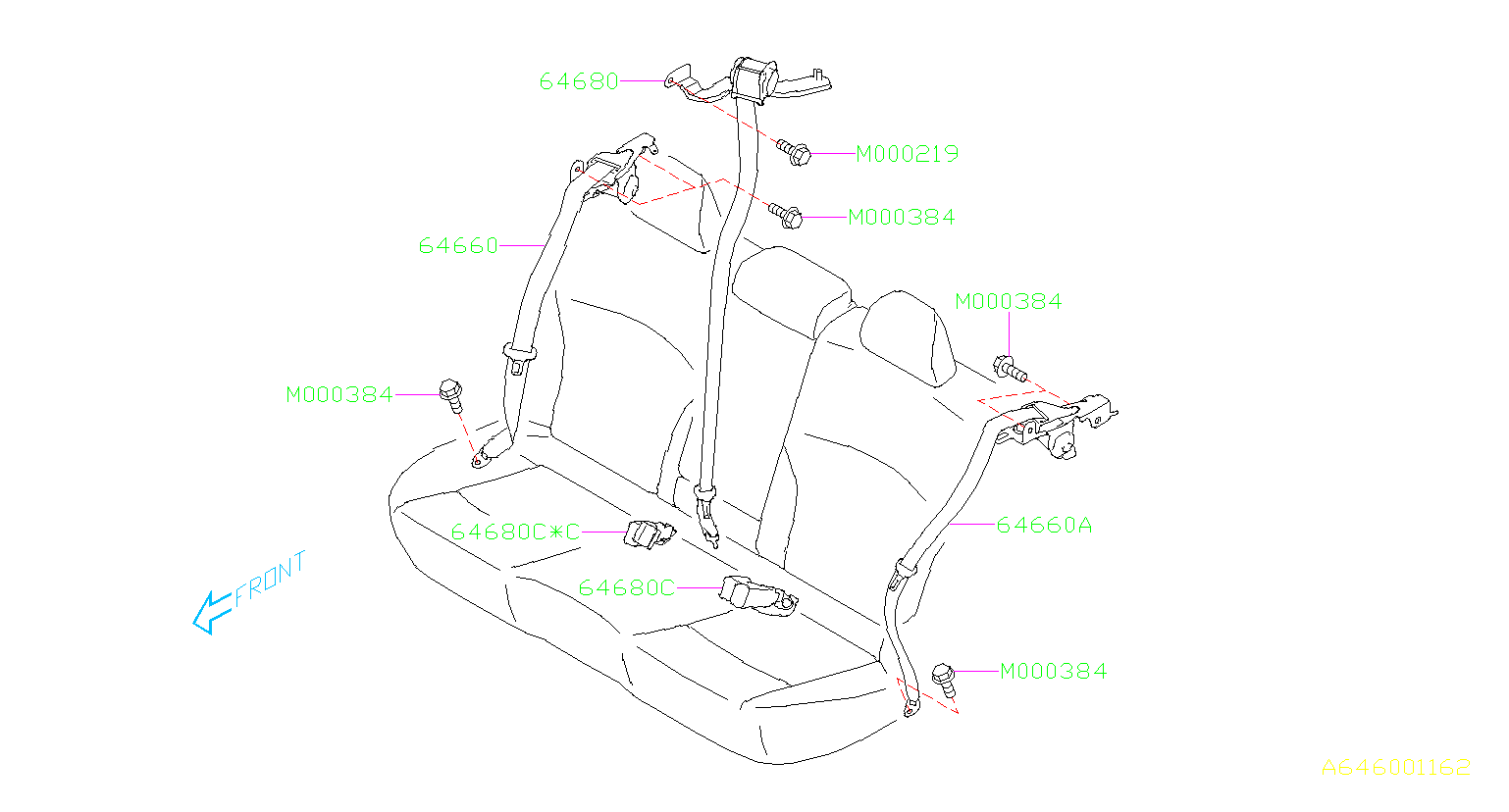 Subaru Outback Seat Belt Receptacle (Rear, Inner, Black