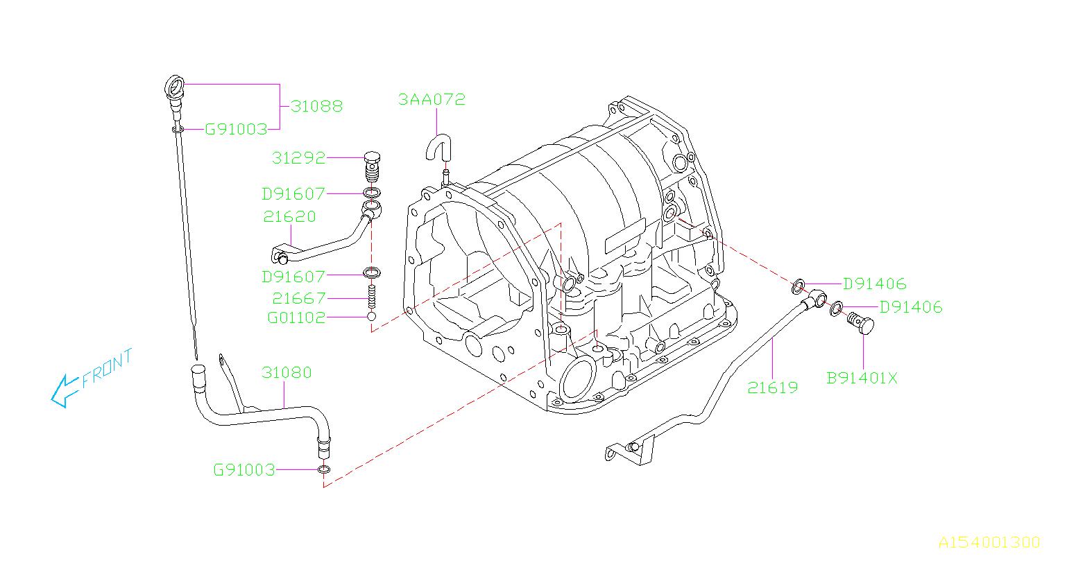 Subaru Impreza Automatic Transmission Dipstick. Gauge AT