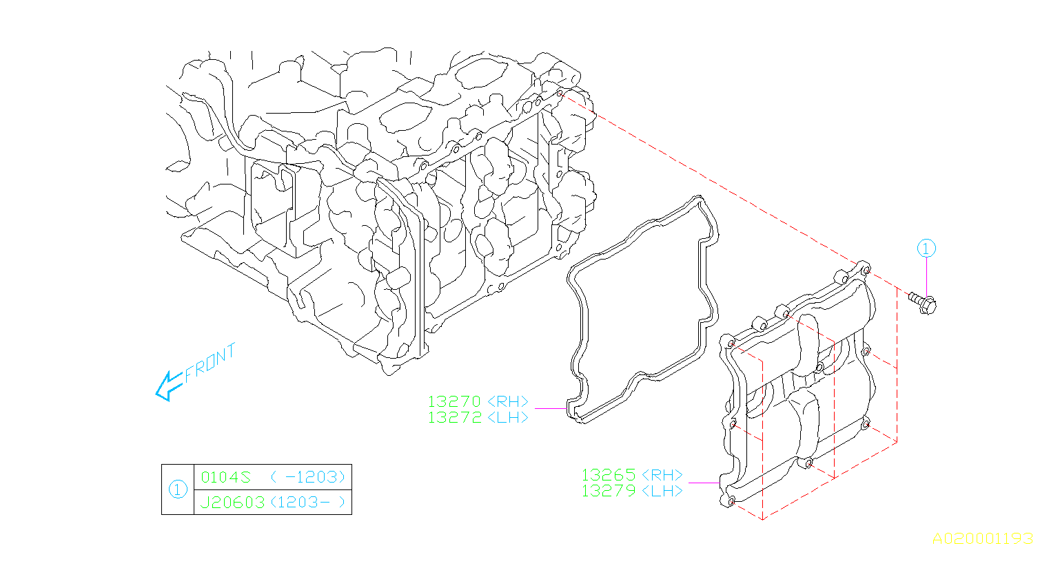 Subaru Impreza Engine Valve Cover Gasket (Left). Gasket