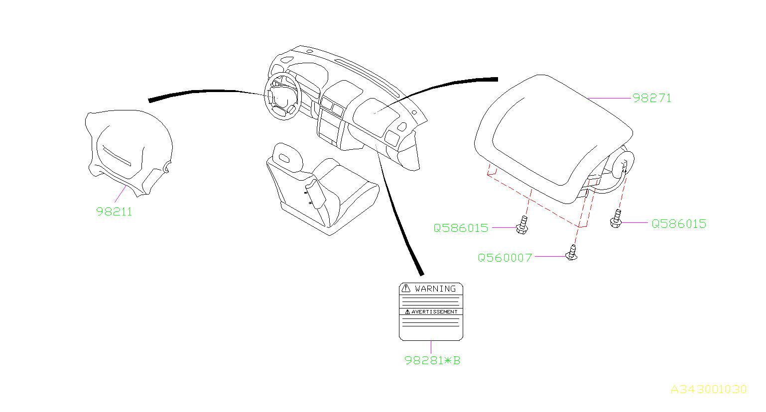 Subaru Forester Steering Wheel Air Bag (Off Black, Black