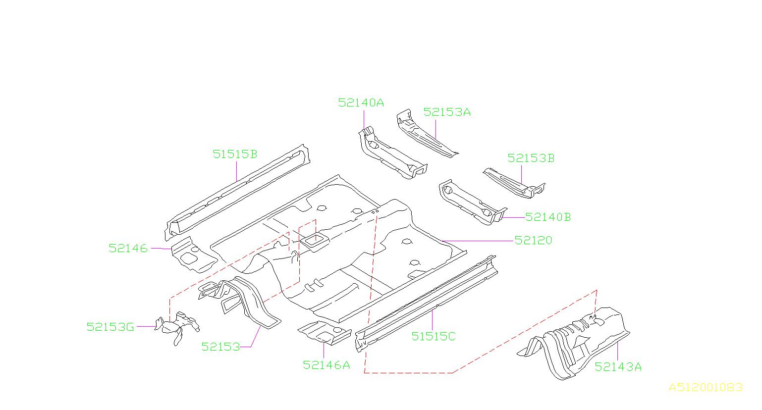 Subaru Forester Floor Pan Crossmember Right Front