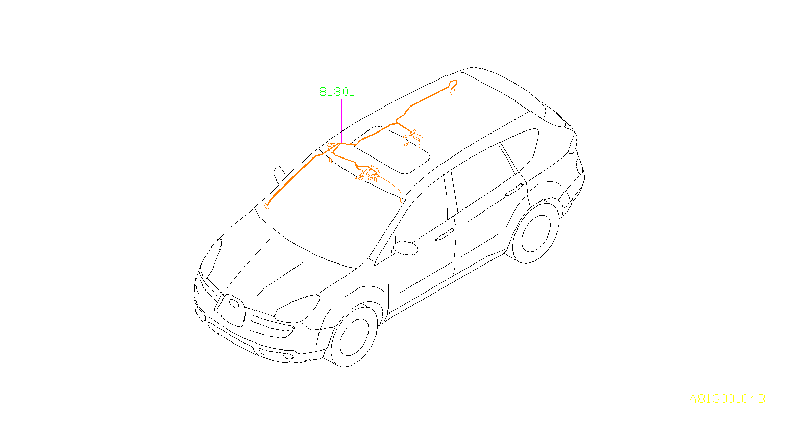 Subaru Tribeca Sunroof Wiring Harness (Right). Cord Roof