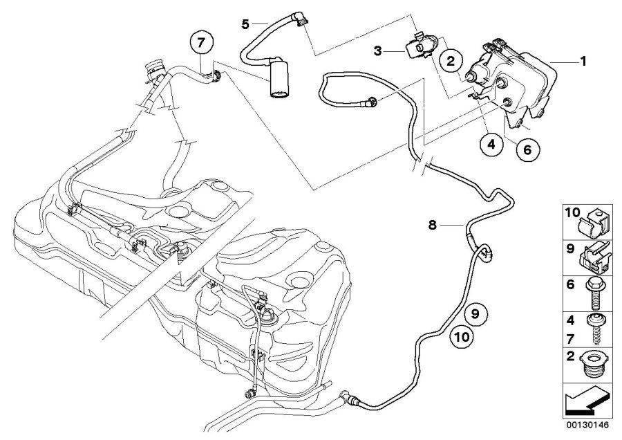 2004 BMW Leak diagnosis pump. ACTIVATED, Fuel, Filter