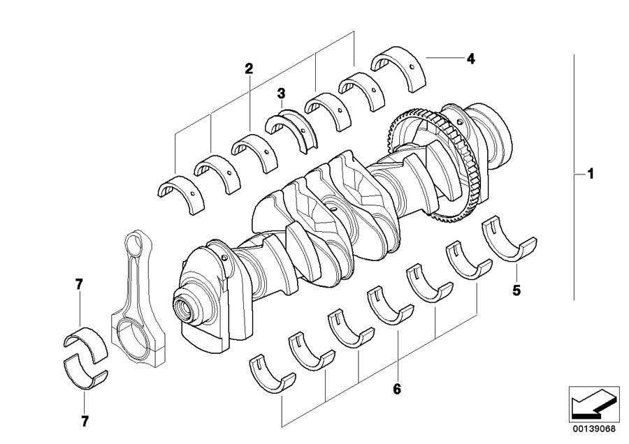 2017 BMW X5 At-crankshaft with bearing shells. Engine