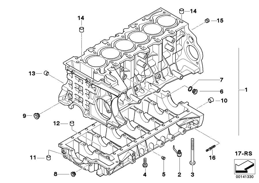 2016 BMW 335i Sedan Engine block with piston. Housing