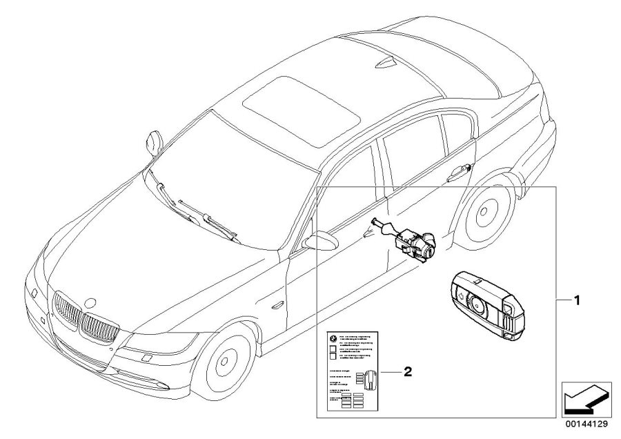 BMW 325i Label Key Memory. Locking, Coupé, Control