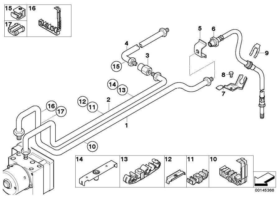 BMW 325i Brake pipe bracket. Rear, suspension, axle