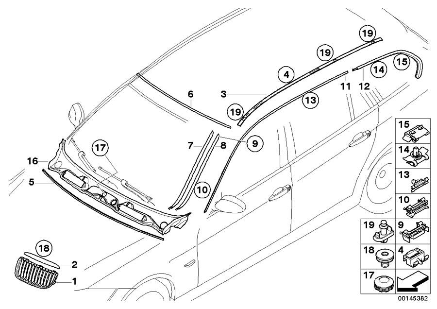 BMW 328i Primed drip moulding, right. Trim, Exterior, Body