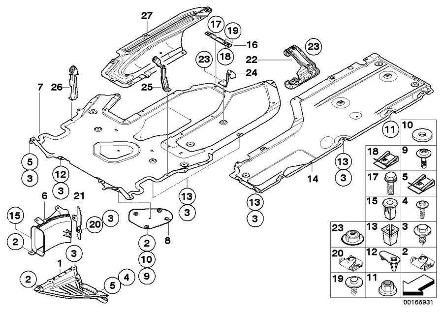 2005 BMW 530i Underfloor coating center. Engine