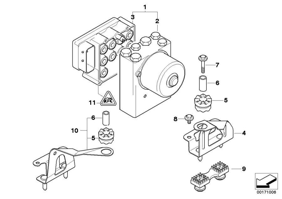 2000 BMW 325i Rp repair kit for hydraulic unit asc