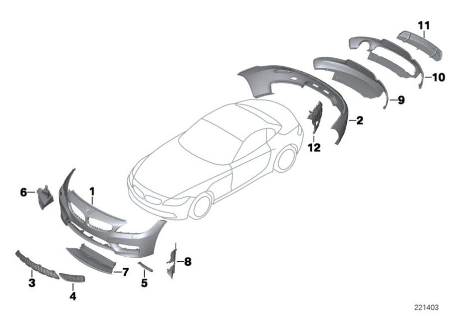 BMW Z4 Pressure lip, front left. Trim, Exterior