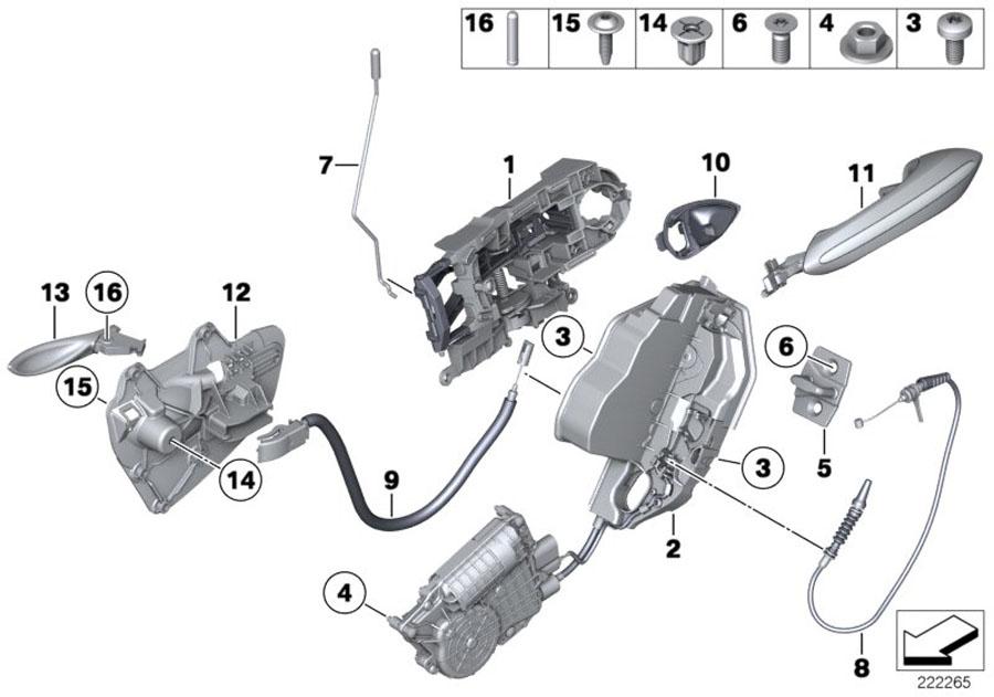 BMW 535i Door handle inner right. Trim, body, rear