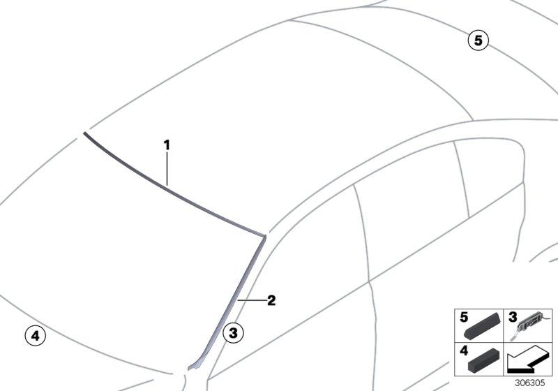 BMW 328d Clip, drip moulding. Trim, Exterior, Body