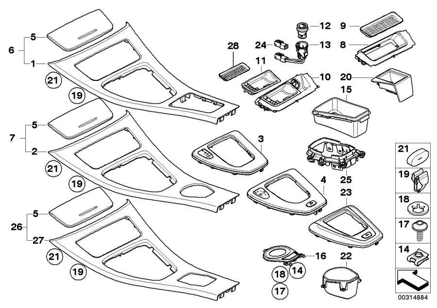 BMW 328i Ashtray insert. Center, body, armrest