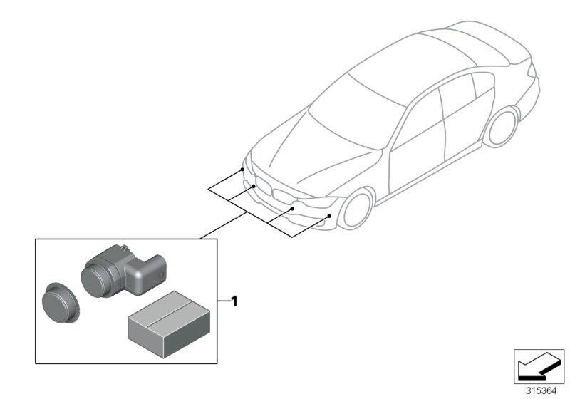 BMW 328i Set, mounting, PDC/PMA sensor, front. M-P. Trim