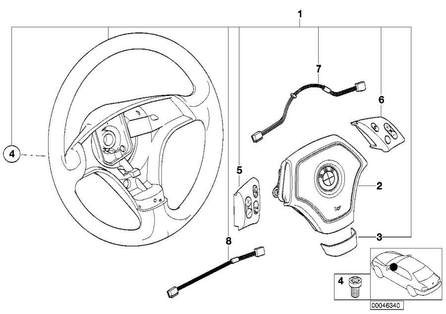 2000 BMW 323Ci Radio/telephone switch. Steering, wheel
