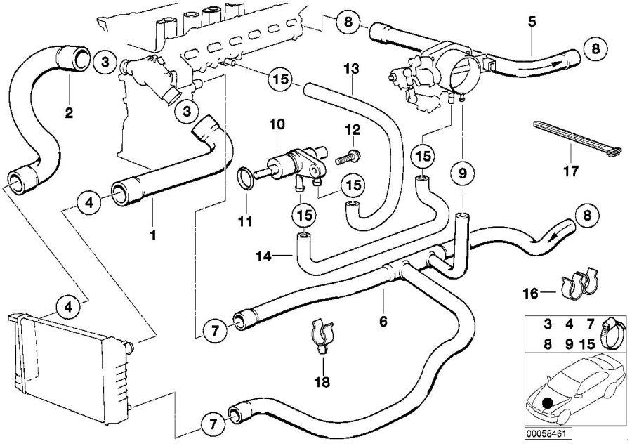 1995 BMW 525i Water hose. Engine, cooling, hoses