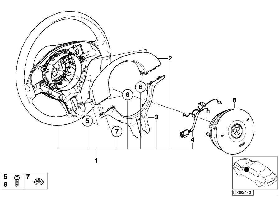 2003 BMW 330i Sedan Airbag sports steering wheel, leather
