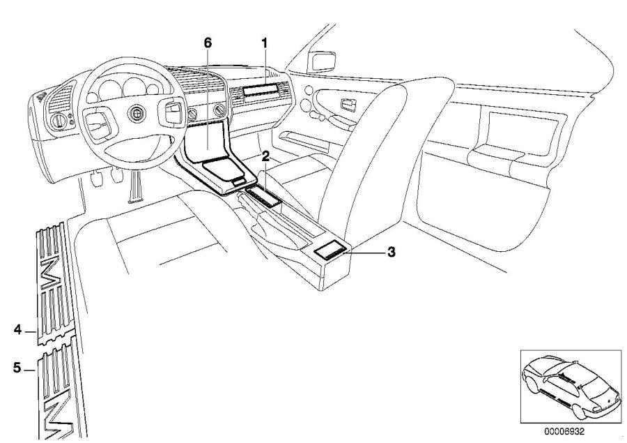 1996 BMW 328i Sill strip front. Kohlefaser m. Equipment