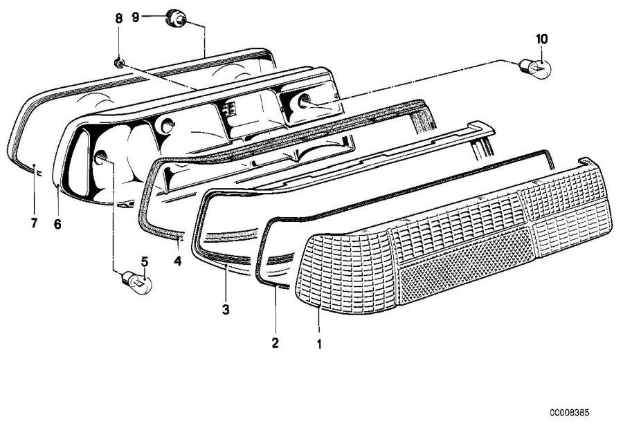 1987 BMW 635CSi Tail light, right. Rear, System