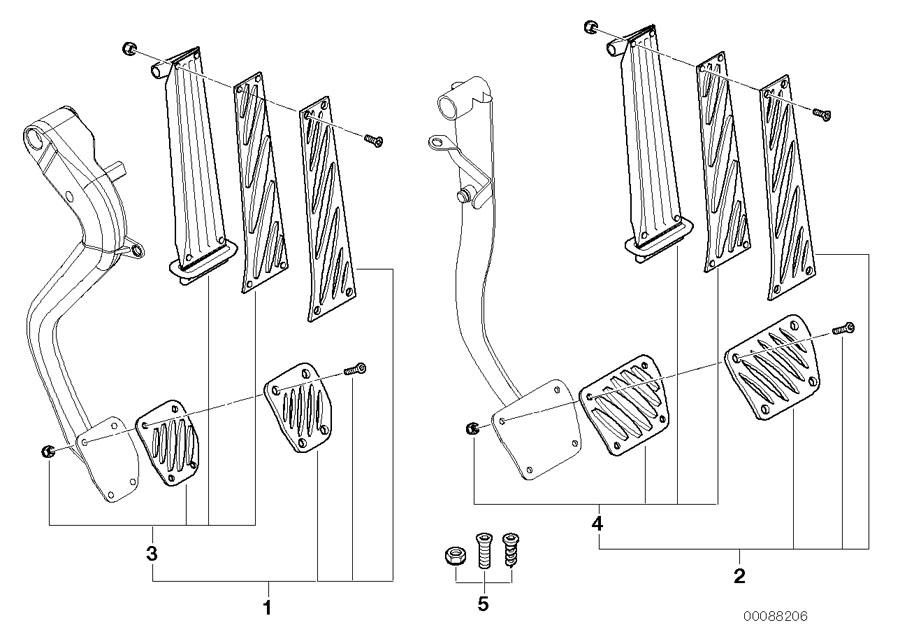 BMW 525i Accelerator pedal assy. Trim, body, interior