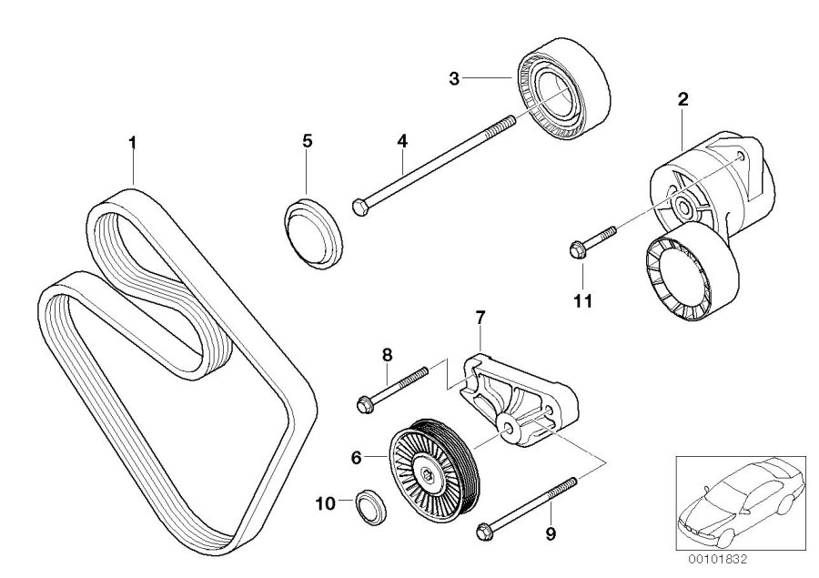 BMW Z4 Complete hydraulic belt tensioner. Drive