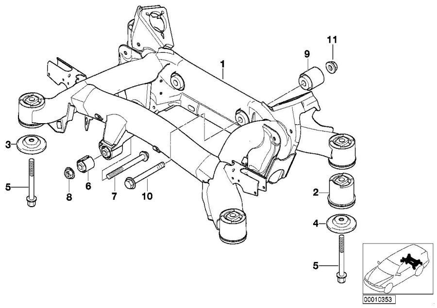 BMW 540i Stabilizer support. Suspension, rear, axle
