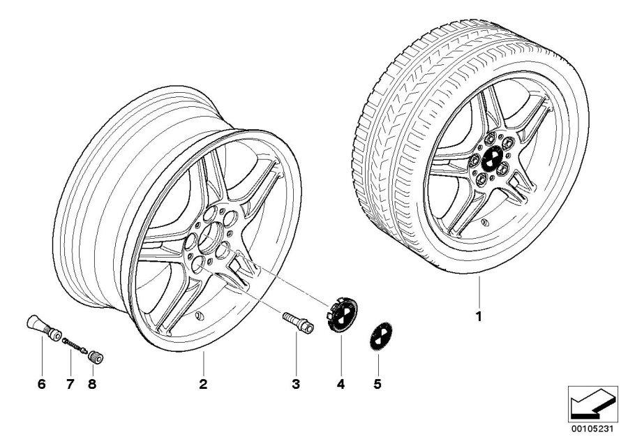 BMW Z4 Light alloy rim. 8JX18 ET:47. Wheels, WHEEL