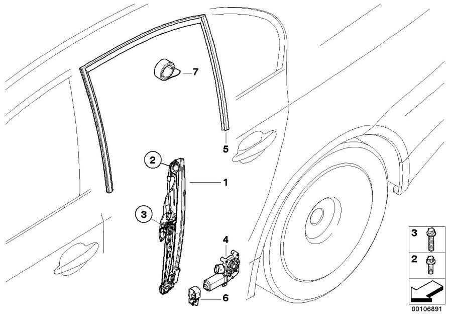 BMW M5 Left rear window guide. Door, body, trim, mechanism