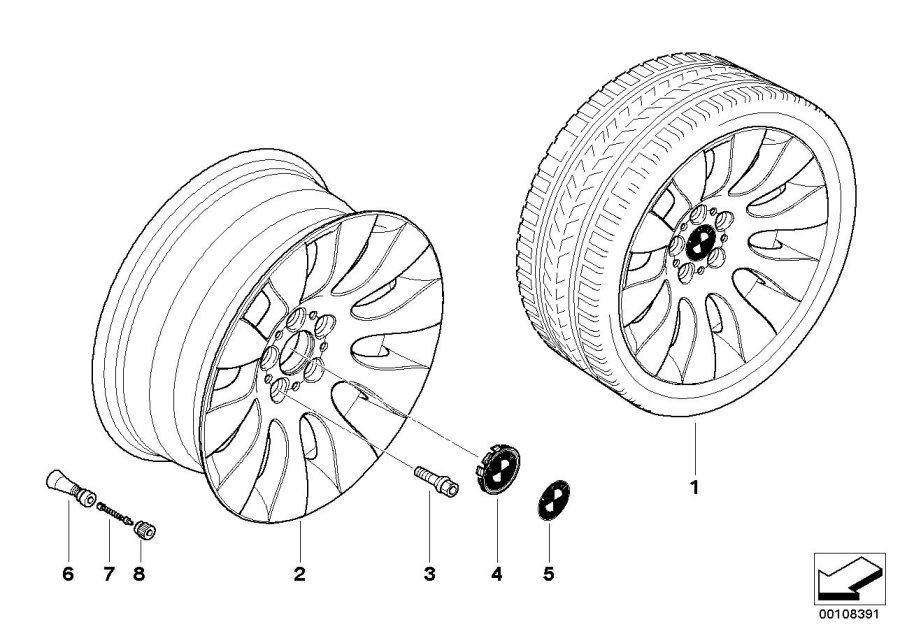 BMW 760i Light alloy rim. 8JX18 ET:24. Wheels, Wheel