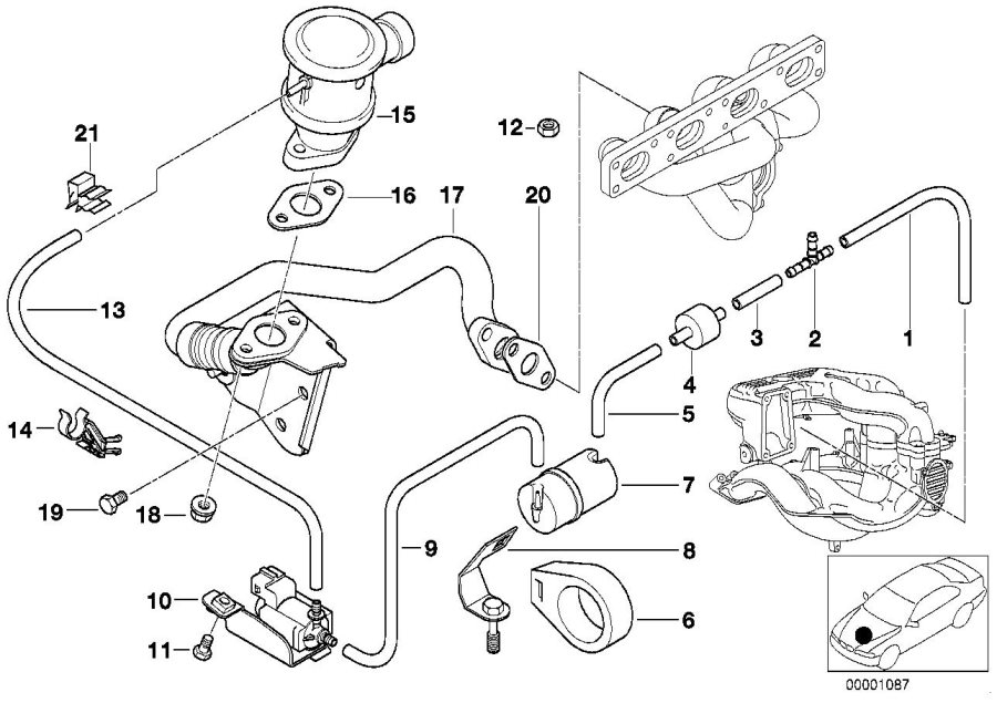 BMW Z3 Bracket, vacuum reservoir. TLEV. Control, Tube
