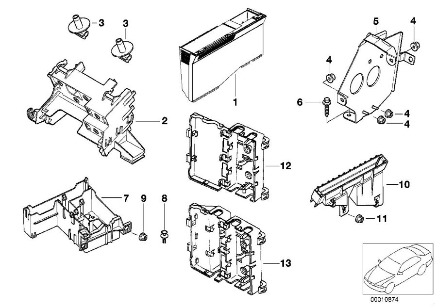 BMW 540iP Bracket control unit ABS. Modules, Units