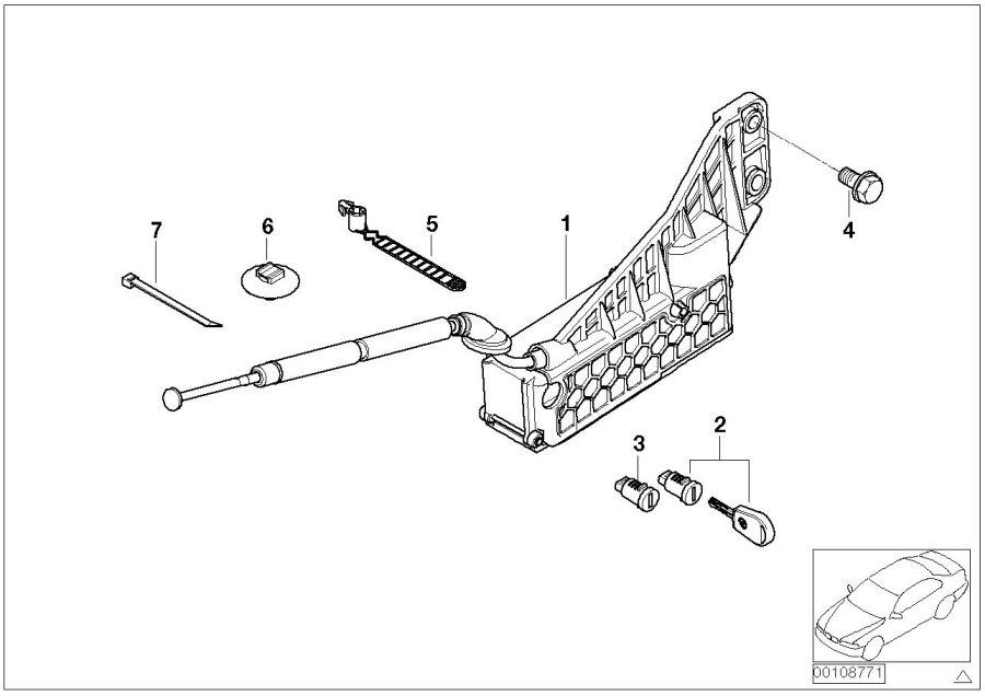 BMW 745i Emergency mechanism parking lock. Transmission