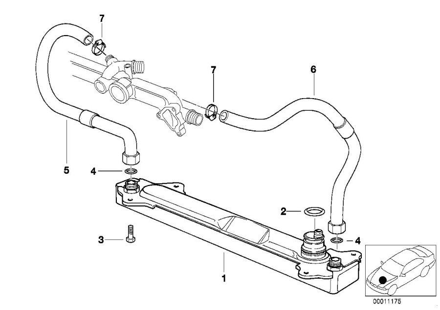 BMW 540i Oil cooler. Cooling, Transmission, Radiator