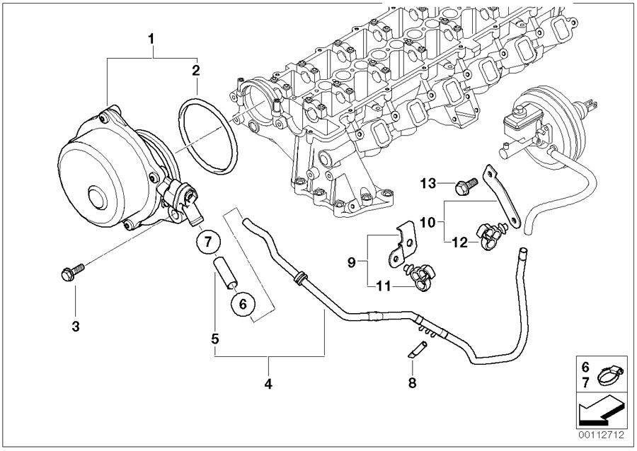 BMW X5 Bracket for vacuum hose. Tubes, Pump, Engine