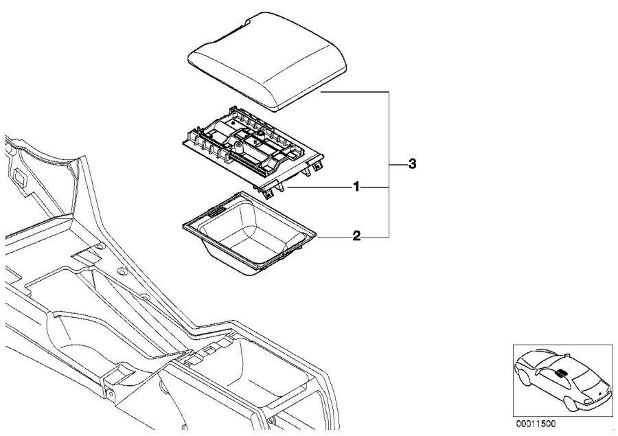 BMW 530i Centre arm rest. SCHWARZ 93. Partition, Equipment